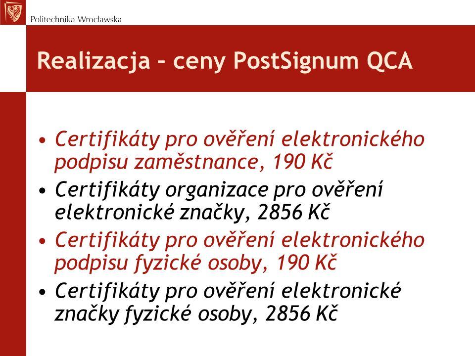 Realizacja – ceny PostSignum QCA