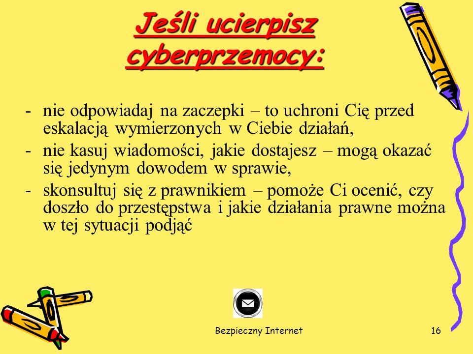 Jeśli ucierpisz cyberprzemocy: