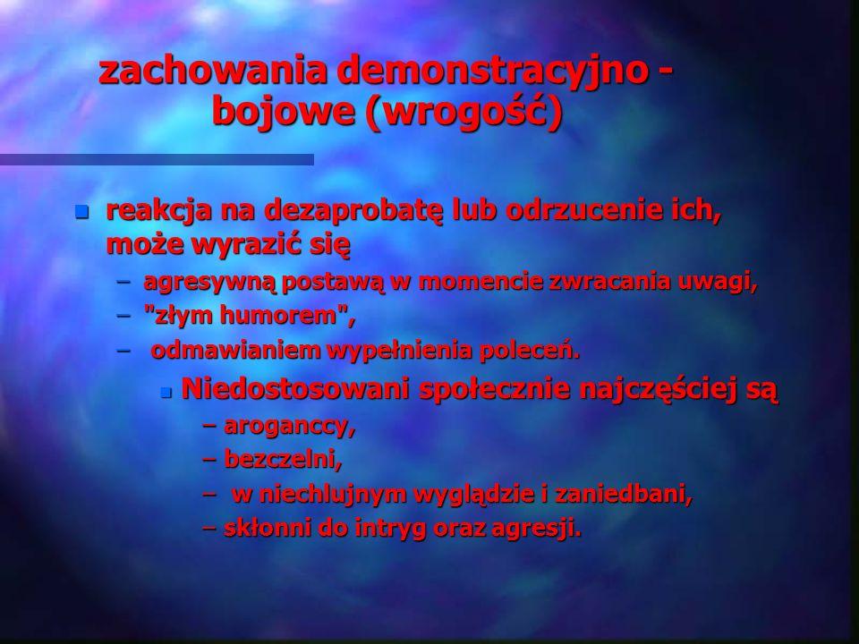 zachowania demonstracyjno - bojowe (wrogość)