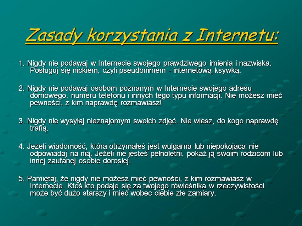 Zasady korzystania z Internetu: