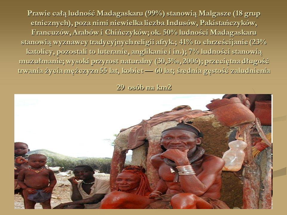Prawie całą ludność Madagaskaru (99%) stanowią Malgasze (18 grup etnicznych), poza nimi niewielka liczba Indusów, Pakistańczyków, Francuzów, Arabów i Chińczyków; ok.