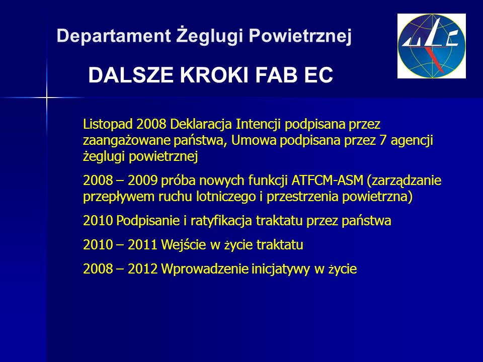 DALSZE KROKI FAB EC Departament Żeglugi Powietrznej