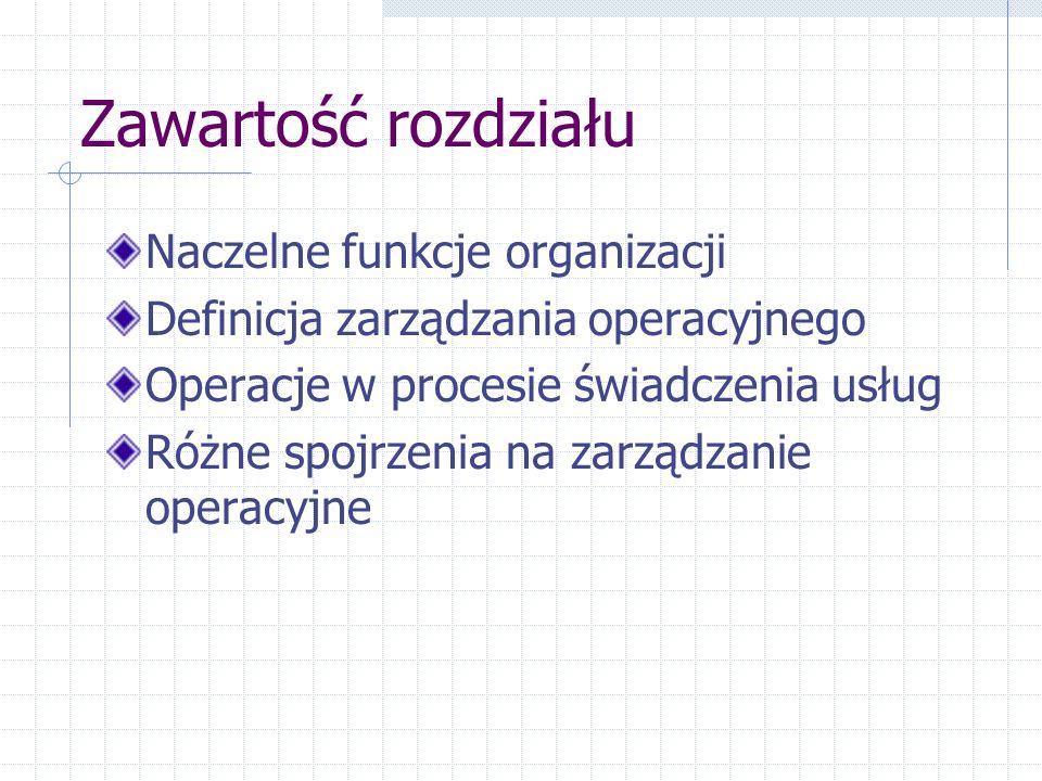 Zawartość rozdziału Naczelne funkcje organizacji