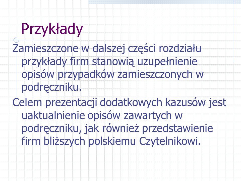 Przykłady Zamieszczone w dalszej części rozdziału przykłady firm stanowią uzupełnienie opisów przypadków zamieszczonych w podręczniku.