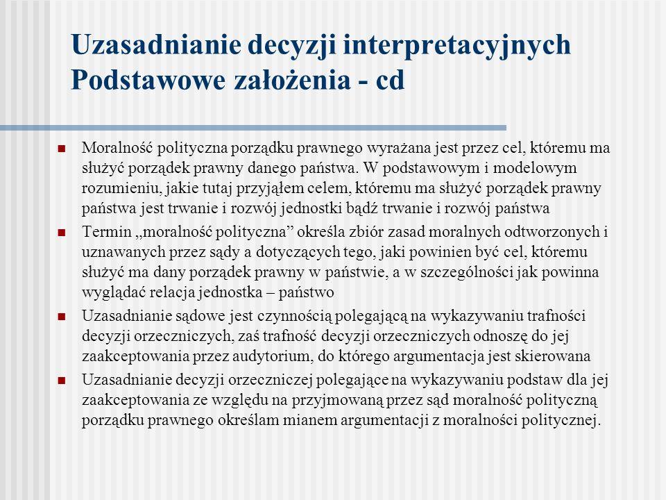 Uzasadnianie decyzji interpretacyjnych Podstawowe założenia - cd