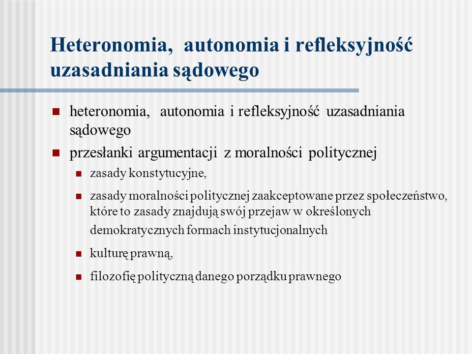 Heteronomia, autonomia i refleksyjność uzasadniania sądowego