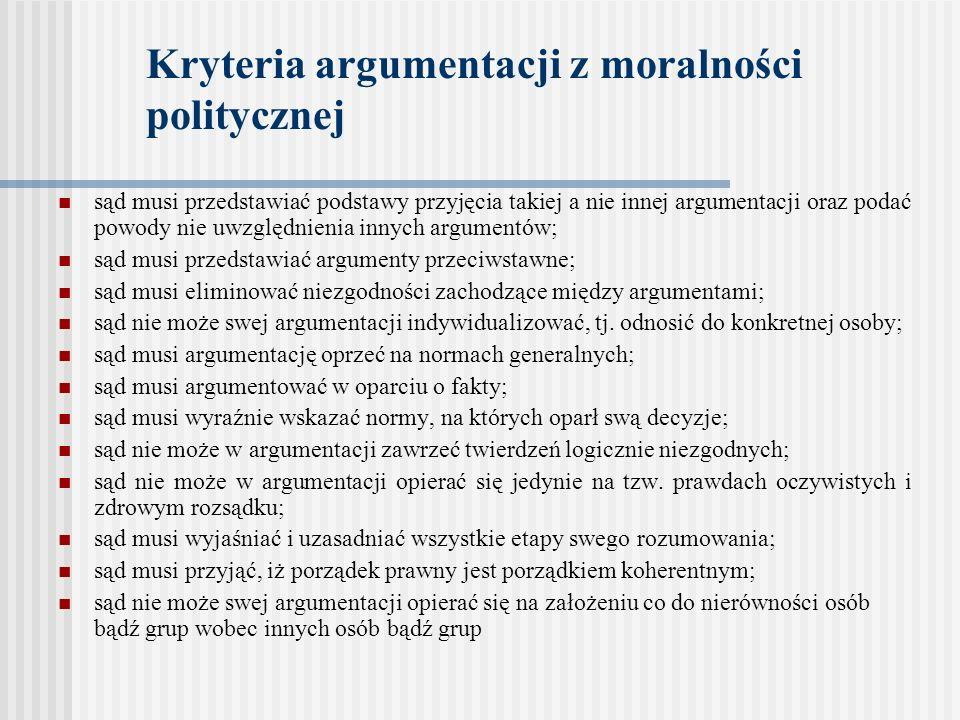 Kryteria argumentacji z moralności politycznej
