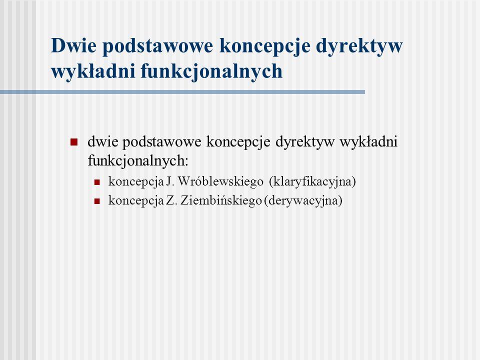 Dwie podstawowe koncepcje dyrektyw wykładni funkcjonalnych