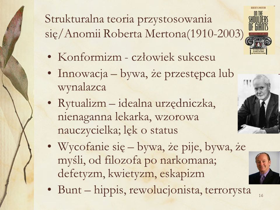 Strukturalna teoria przystosowania się/Anomii Roberta Mertona(1910-2003)