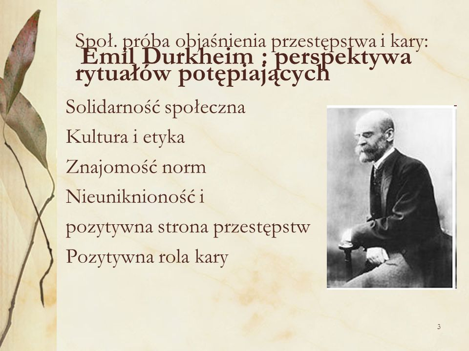 Społ. próba objaśnienia przestępstwa i kary: Emil Durkheim : perspektywa rytuałów potępiających