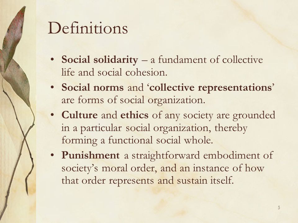 Definitions Social solidarity – a fundament of collective life and social cohesion.