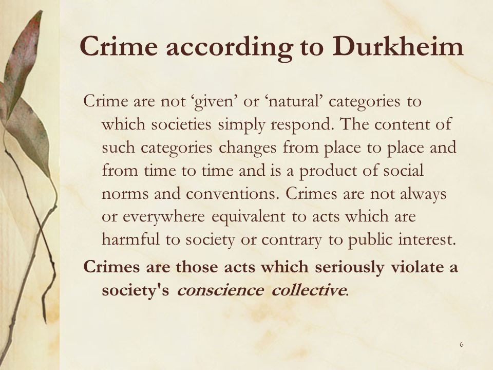 Crime according to Durkheim