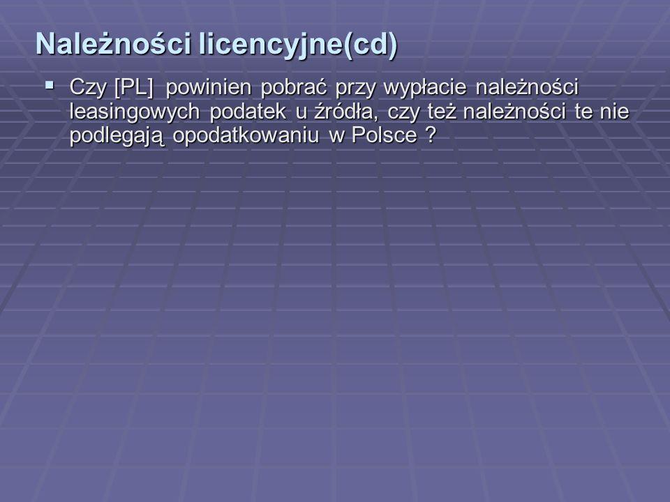 Należności licencyjne(cd)