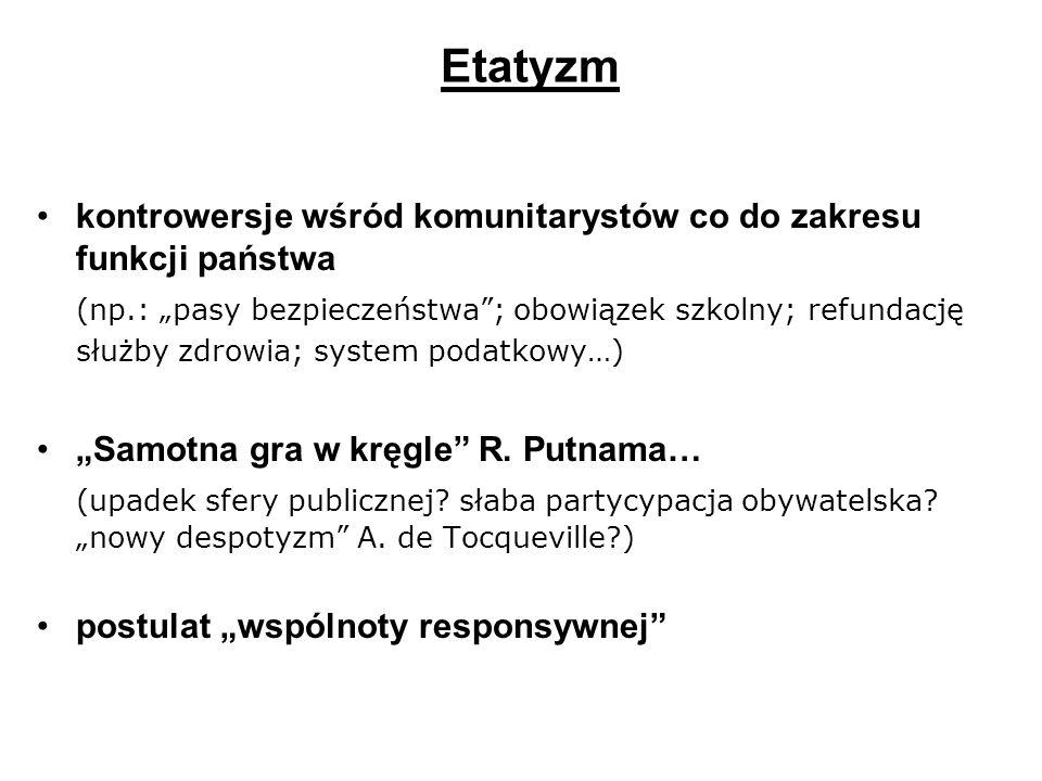 Etatyzm kontrowersje wśród komunitarystów co do zakresu funkcji państwa.