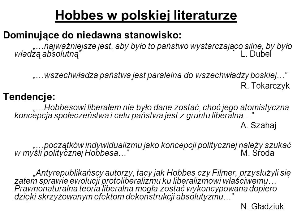 Hobbes w polskiej literaturze