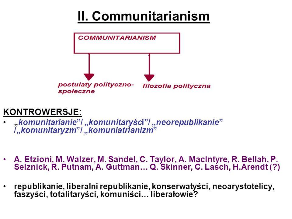 II. Communitarianism KONTROWERSJE: