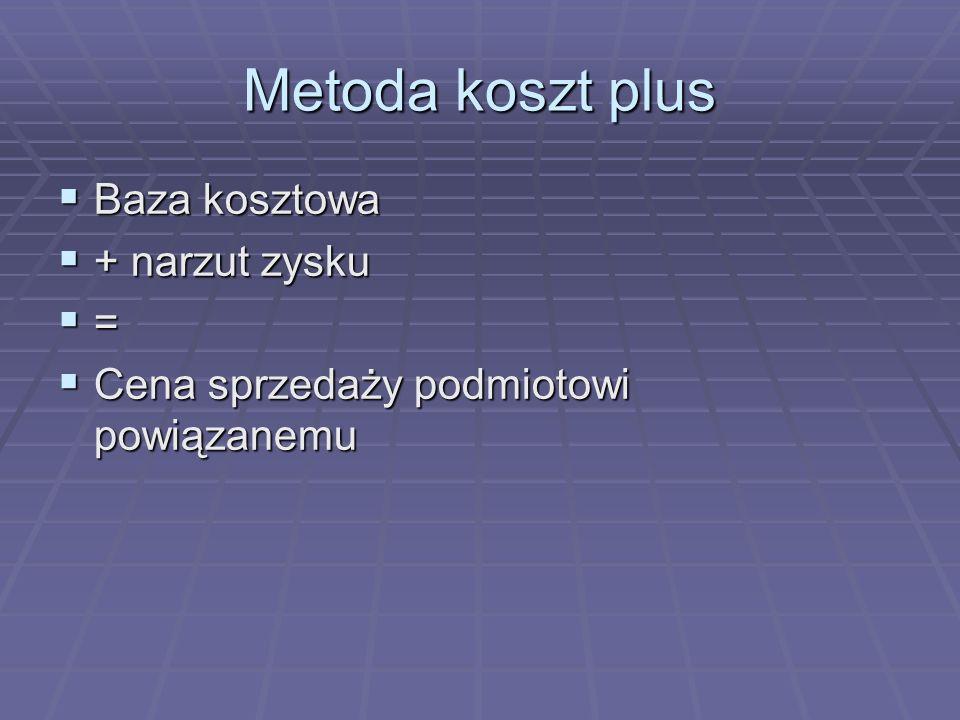 Metoda koszt plus Baza kosztowa + narzut zysku =