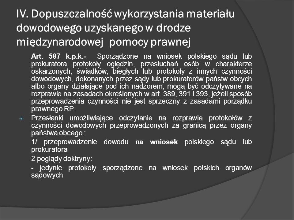 IV. Dopuszczalność wykorzystania materiału dowodowego uzyskanego w drodze międzynarodowej pomocy prawnej