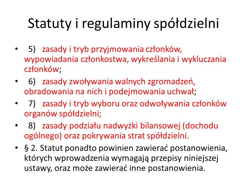 Statuty i regulaminy spółdzielni
