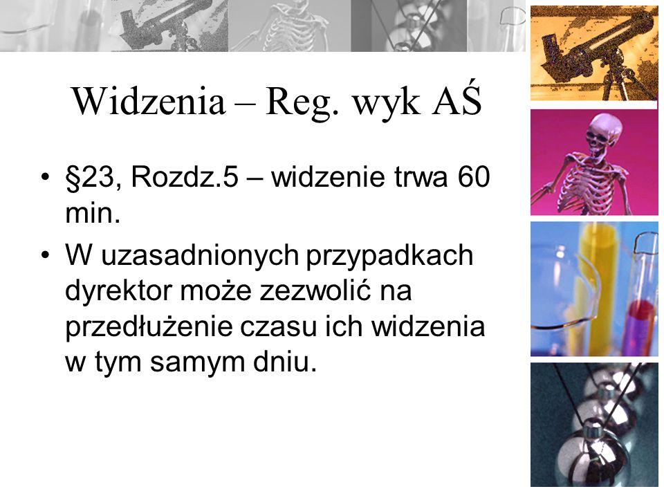 Widzenia – Reg. wyk AŚ §23, Rozdz.5 – widzenie trwa 60 min.