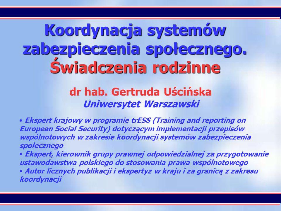 Koordynacja systemów zabezpieczenia społecznego. Świadczenia rodzinne