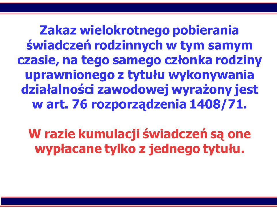 Zakaz wielokrotnego pobierania świadczeń rodzinnych w tym samym czasie, na tego samego członka rodziny uprawnionego z tytułu wykonywania działalności zawodowej wyrażony jest w art.