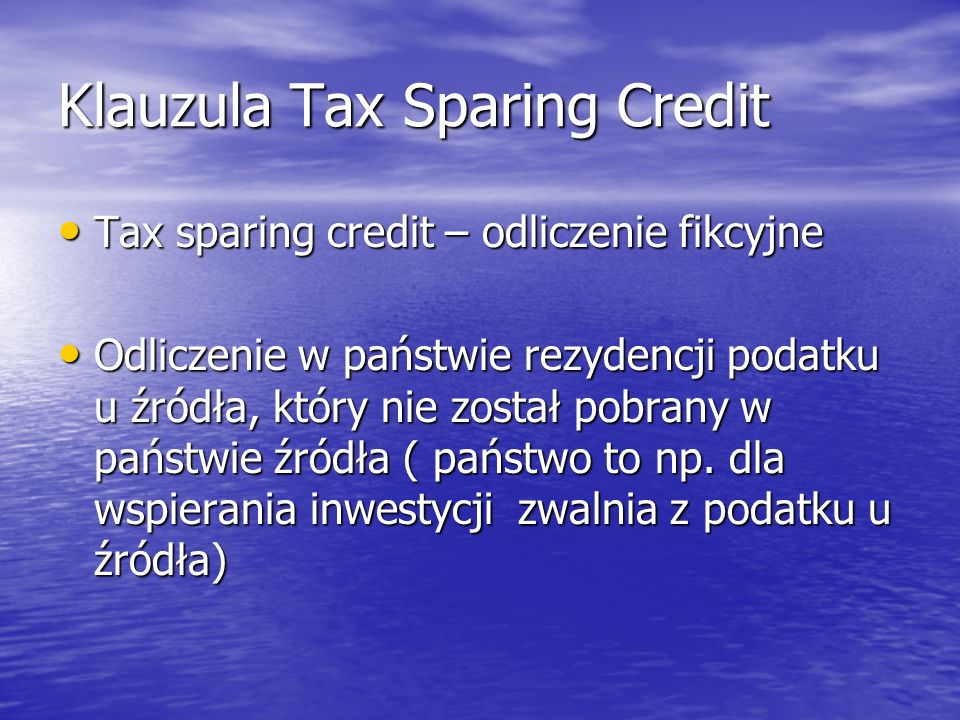 Klauzula Tax Sparing Credit