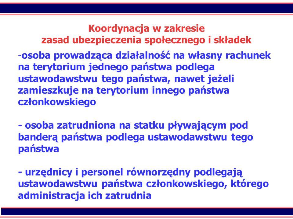 Koordynacja w zakresie zasad ubezpieczenia społecznego i składek