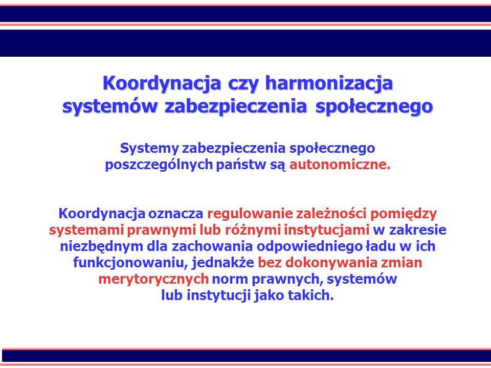 Koordynacja czy harmonizacja systemów zabezpieczenia społecznego Systemy zabezpieczenia społecznego poszczególnych państw są autonomiczne.