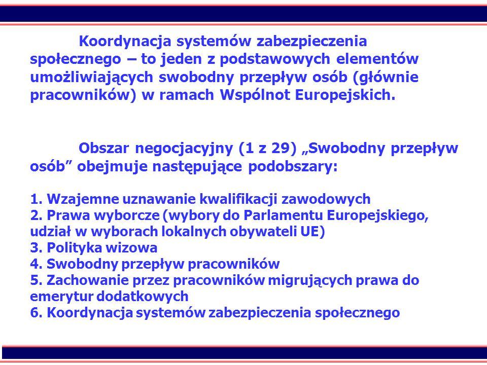 Koordynacja systemów zabezpieczenia społecznego – to jeden z podstawowych elementów umożliwiających swobodny przepływ osób (głównie pracowników) w ramach Wspólnot Europejskich.