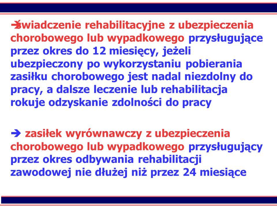 świadczenie rehabilitacyjne z ubezpieczenia chorobowego lub wypadkowego przysługujące przez okres do 12 miesięcy, jeżeli ubezpieczony po wykorzystaniu pobierania zasiłku chorobowego jest nadal niezdolny do pracy, a dalsze leczenie lub rehabilitacja rokuje odzyskanie zdolności do pracy  zasiłek wyrównawczy z ubezpieczenia chorobowego lub wypadkowego przysługujący przez okres odbywania rehabilitacji zawodowej nie dłużej niż przez 24 miesiące