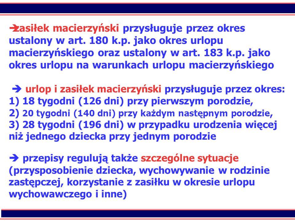 zasiłek macierzyński przysługuje przez okres ustalony w art. 180 k. p