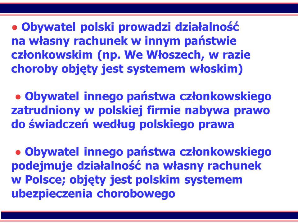 ● Obywatel polski prowadzi działalność na własny rachunek w innym państwie członkowskim (np.