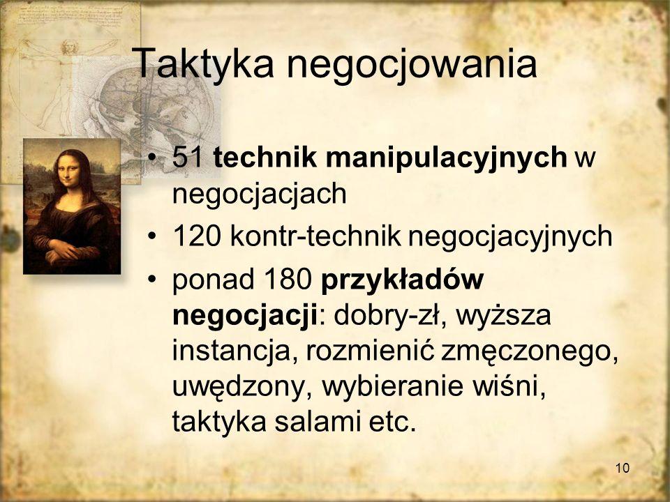 Taktyka negocjowania 51 technik manipulacyjnych w negocjacjach
