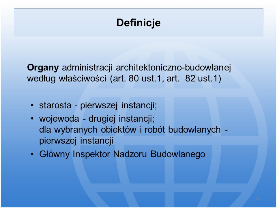 Definicje Organy administracji architektoniczno-budowlanej według właściwości (art. 80 ust.1, art. 82 ust.1)