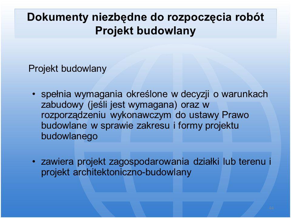 Dokumenty niezbędne do rozpoczęcia robót Projekt budowlany