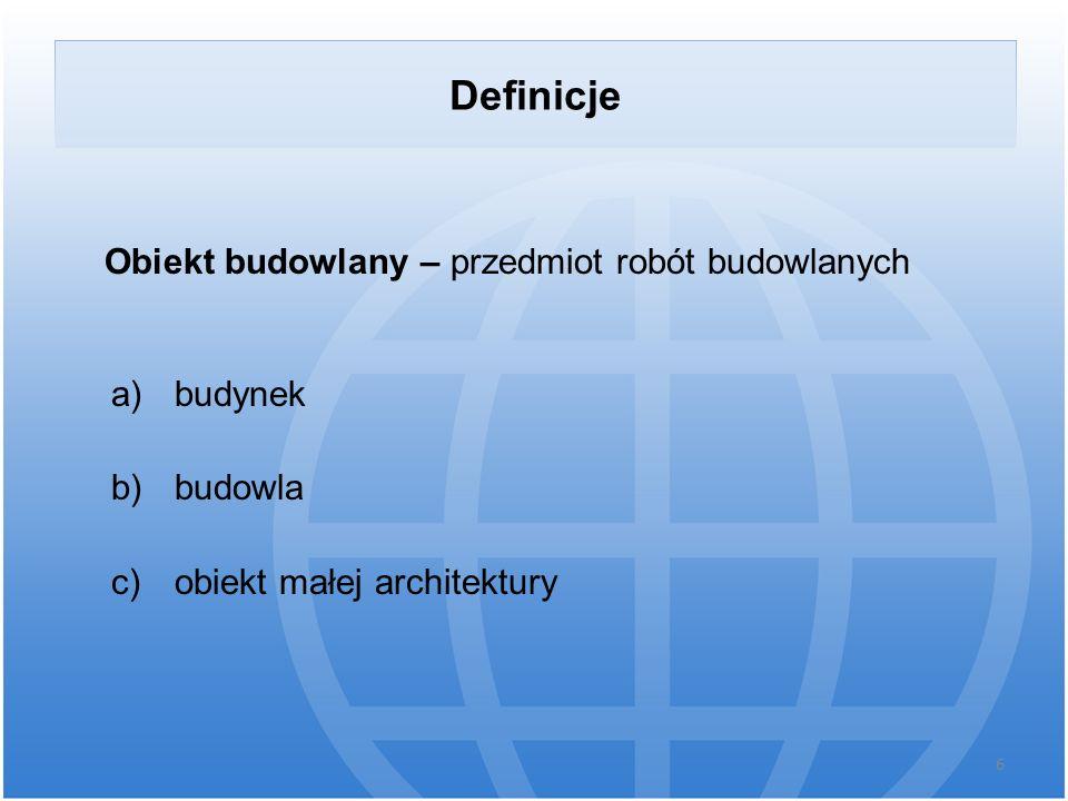 Definicje Obiekt budowlany – przedmiot robót budowlanych budynek