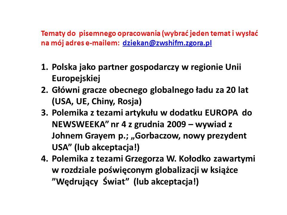 Polska jako partner gospodarczy w regionie Unii Europejskiej