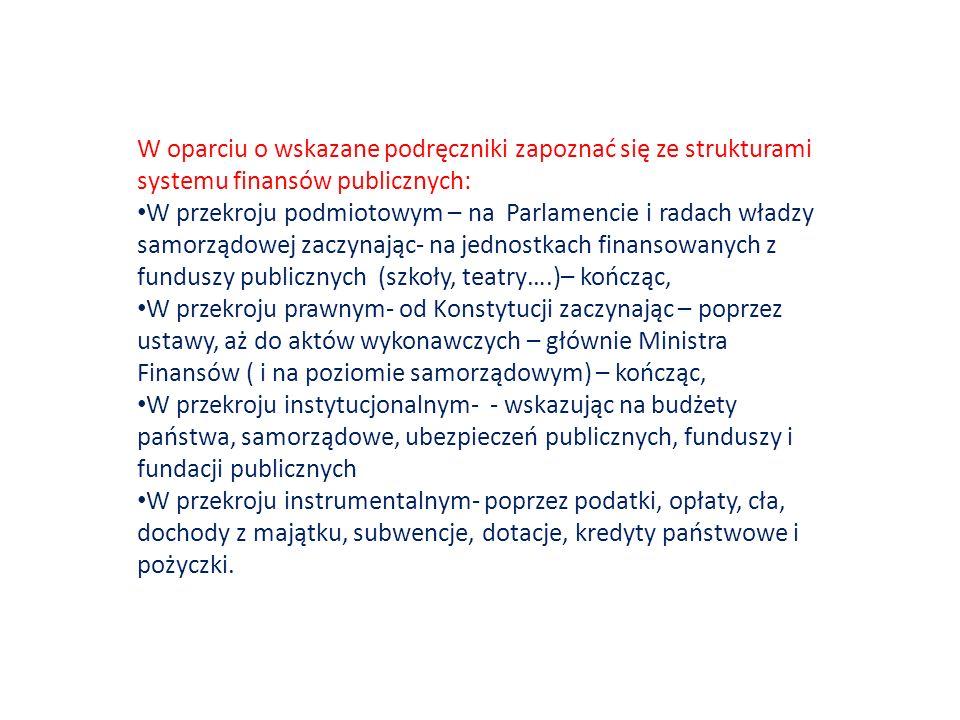 W oparciu o wskazane podręczniki zapoznać się ze strukturami systemu finansów publicznych: