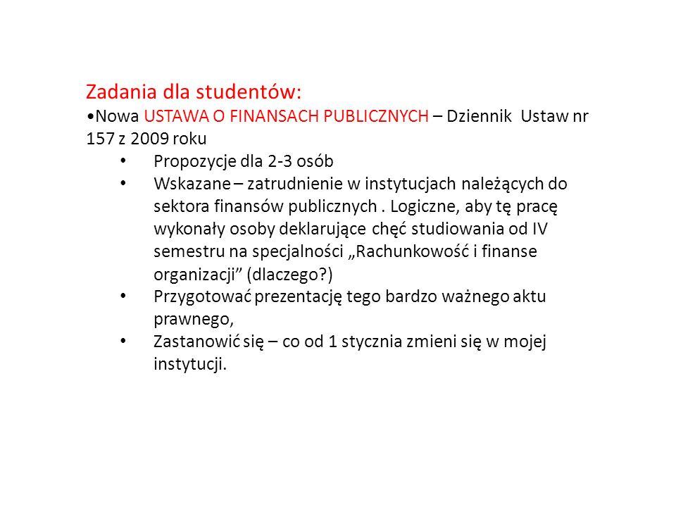 Zadania dla studentów: