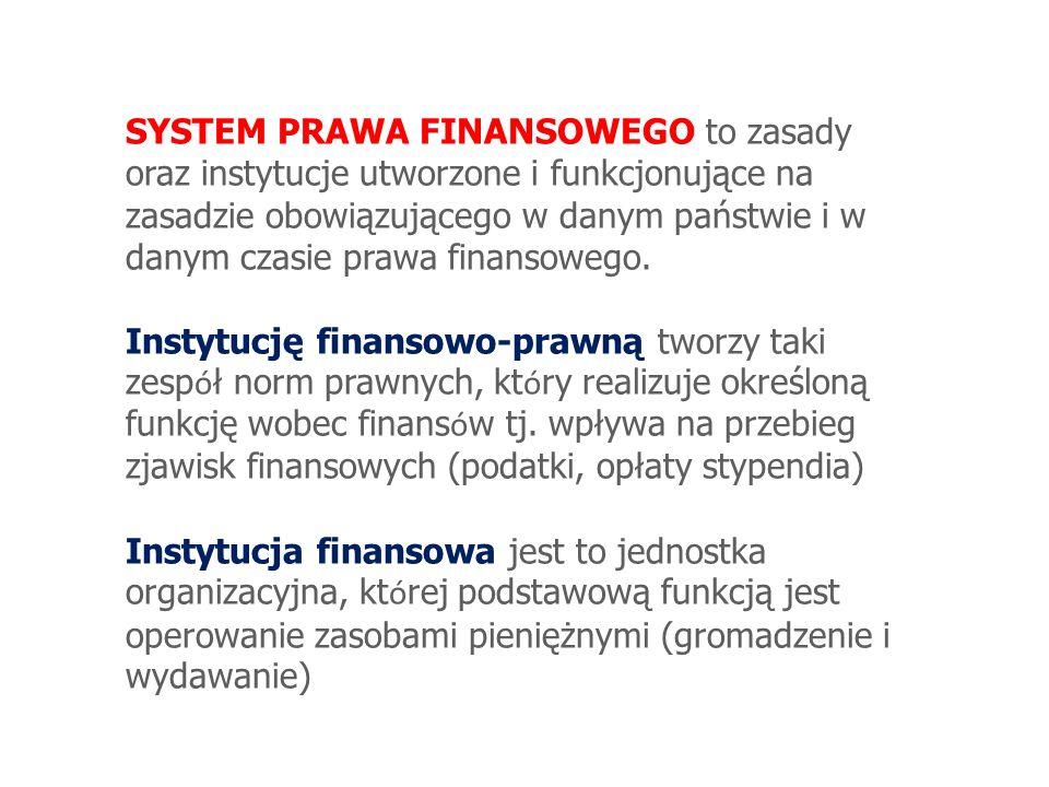 SYSTEM PRAWA FINANSOWEGO to zasady oraz instytucje utworzone i funkcjonujące na zasadzie obowiązującego w danym państwie i w danym czasie prawa finansowego.