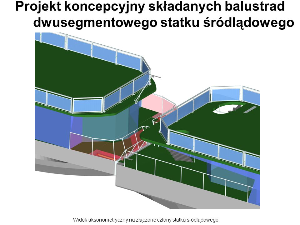 Projekt koncepcyjny składanych balustrad dwusegmentowego statku śródlądowego