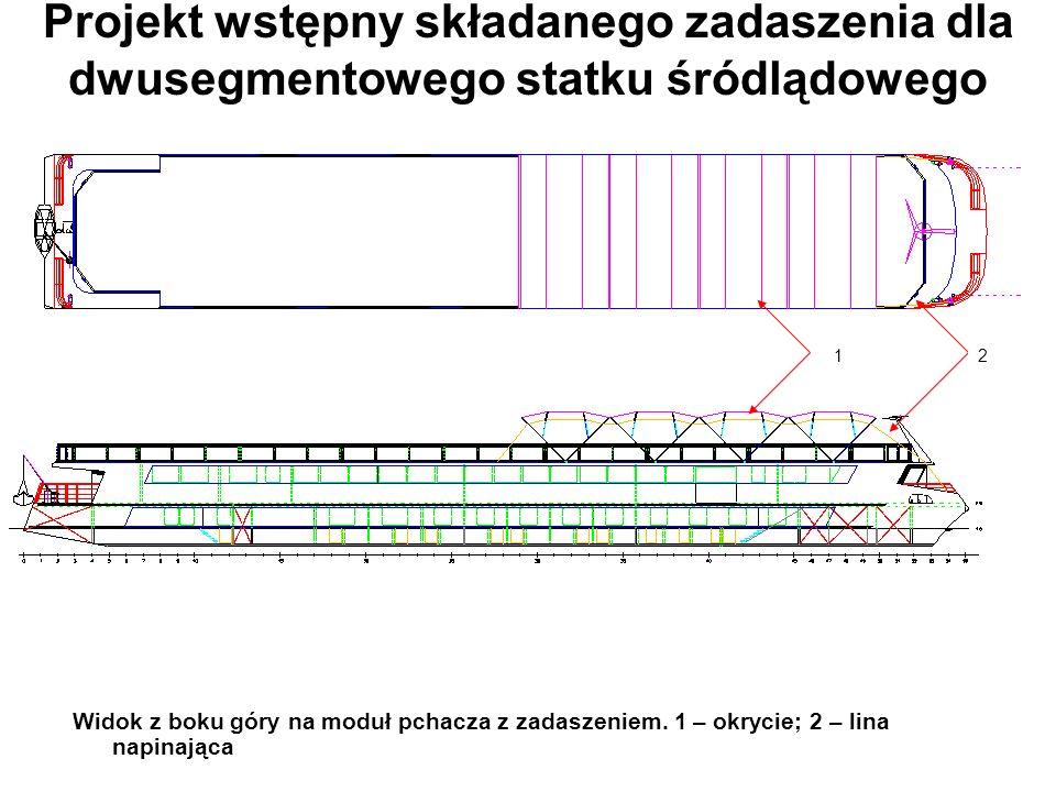 Projekt wstępny składanego zadaszenia dla dwusegmentowego statku śródlądowego