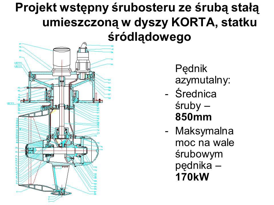 Projekt wstępny śrubosteru ze śrubą stałą umieszczoną w dyszy KORTA, statku śródlądowego