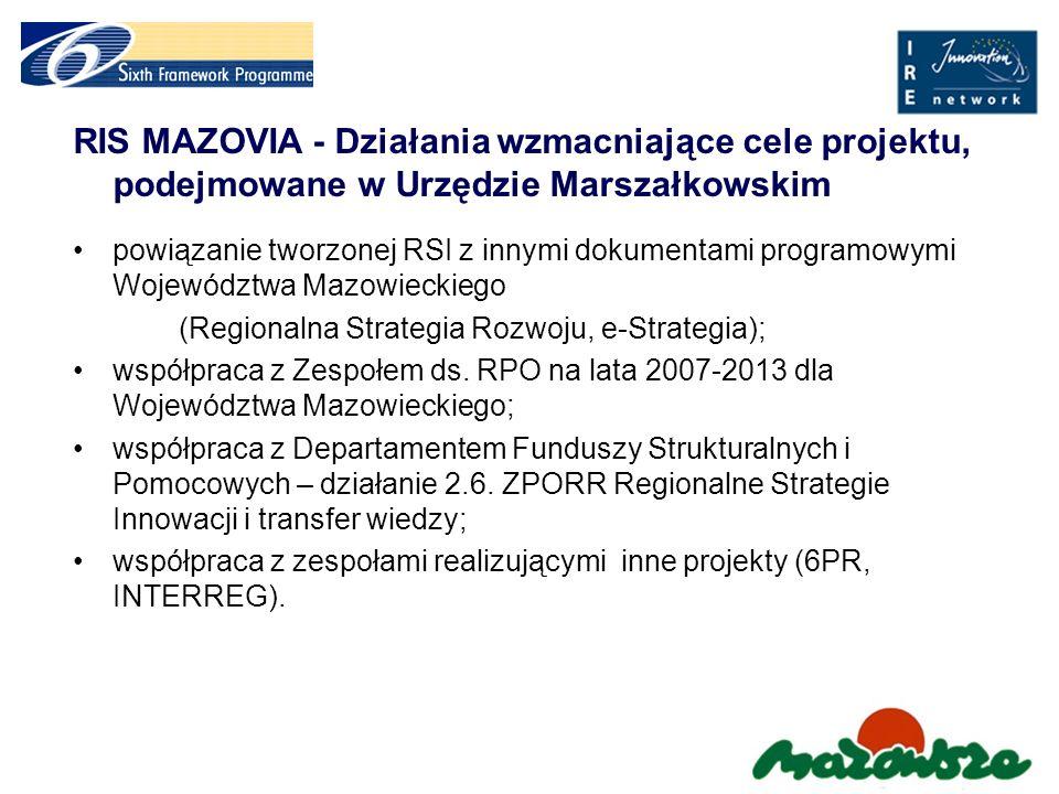RIS MAZOVIA - Działania wzmacniające cele projektu, podejmowane w Urzędzie Marszałkowskim
