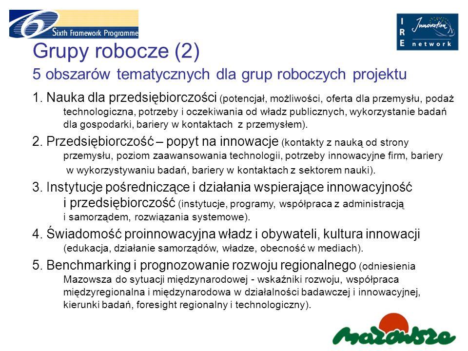 Grupy robocze (2) 5 obszarów tematycznych dla grup roboczych projektu