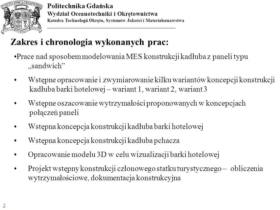 Zakres i chronologia wykonanych prac: