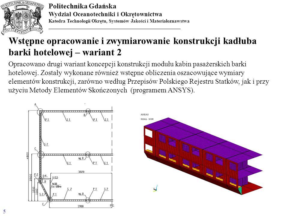 Wstępne opracowanie i zwymiarowanie konstrukcji kadłuba barki hotelowej – wariant 2