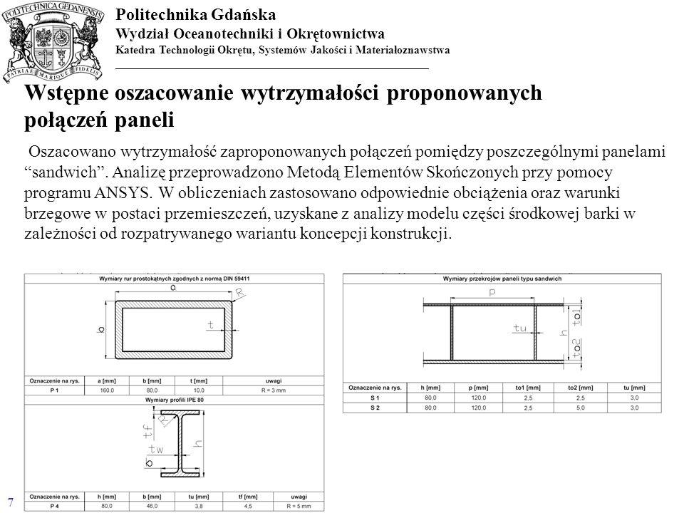 Wstępne oszacowanie wytrzymałości proponowanych połączeń paneli