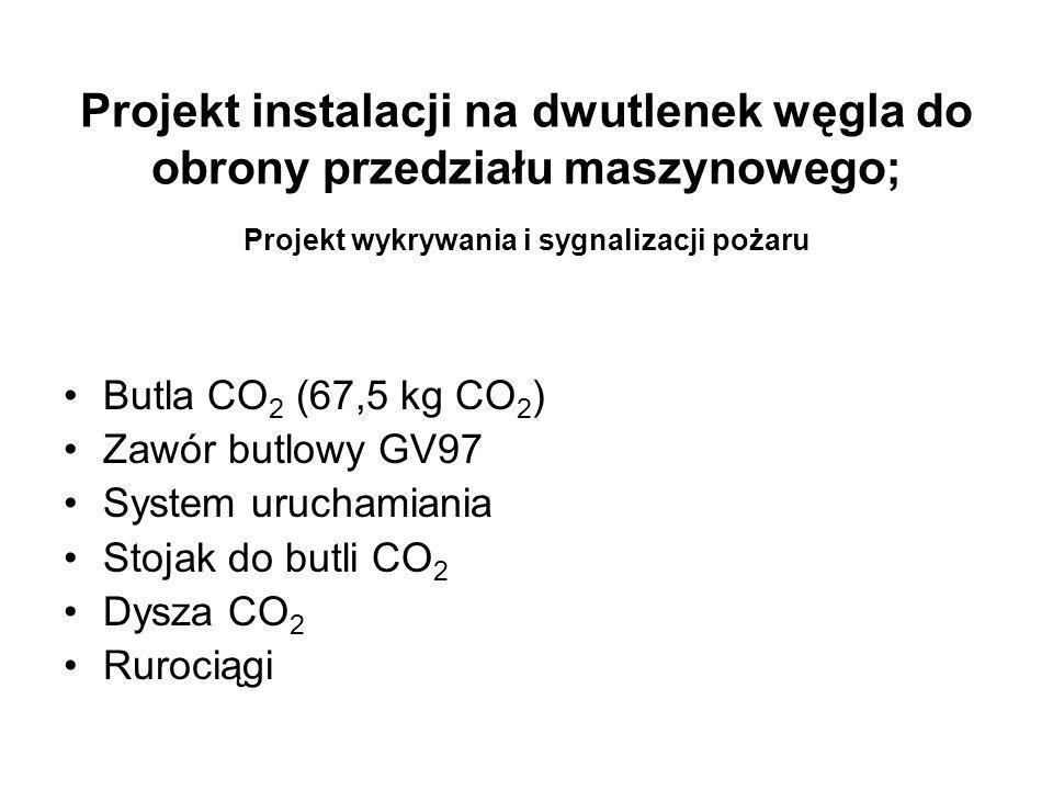 Projekt instalacji na dwutlenek węgla do obrony przedziału maszynowego; Projekt wykrywania i sygnalizacji pożaru